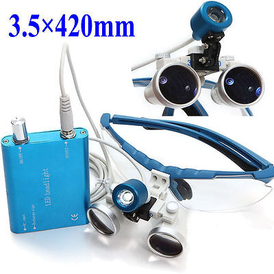 Dental Surgical Medical Binocular Loupes Led Head Light Lamp 3.5x420mm Usa New