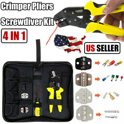Pro 4 In 1 Insulated Cable Wire Crimper Pliers Connectors Ratchet Terminal Tool