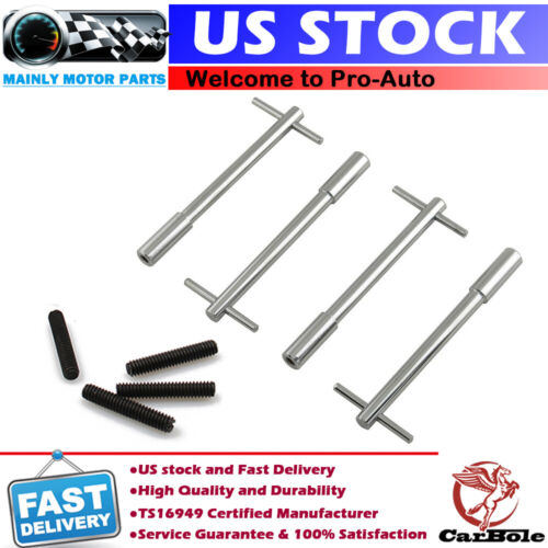 """5 3//8/"""" Chome Valve Cover T-Handle Wing Bolts w// 1//4 Studs"""