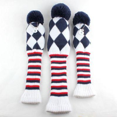 USA Ship knit Vintage Pom Pom Headcover 3-pc Set Head cover golf club (3 Golf Club Headcovers)