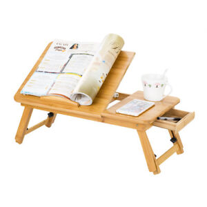 UK Bamboo Portable Folding Legs Laptop Notebook Table Bed Tray PC Desk Stand