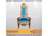 NEW Lion King Queen Wedding Throne Chair - Gold & Blue (150cm) - Luxury Asian Gothic Antique Chic