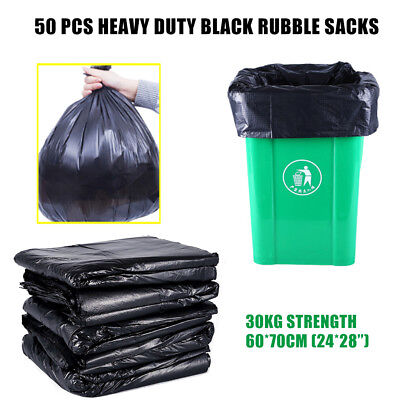 50 x EXTRA HEAVY DUTY BLACK PLASTIC BAGS/SACKS BUILDERS 30kg + High Strength! UK