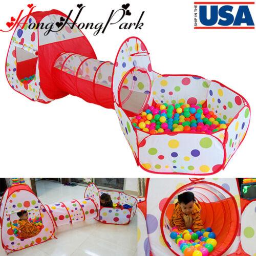US Portable Kids Indoor Outdoor Play Tent +Crawl Tunnel Set