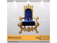 NEW Tiger King Throne Chair - Gold & Blue