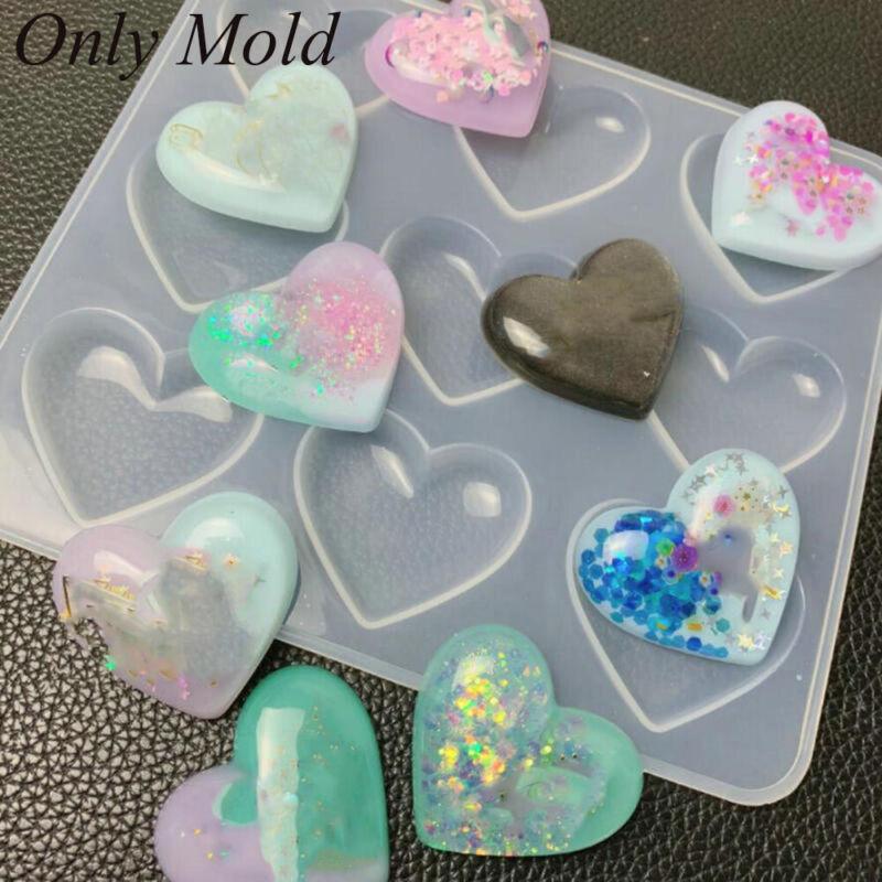 Molds Epoxy Cabochon Jewelry Making 9 Cavity Bright Heart Re