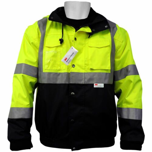 Hi Visibility Jacket 5-in-1 Winter Bomber, Waterproof, Class 3, Sz:Med, GLO-B1-M