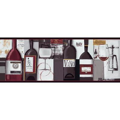 Contemporary Wine Bottles On Sure Strip Wallpaper Border Bg1682bd