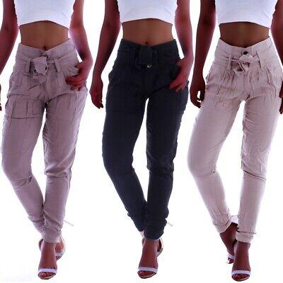 Reiten Jeans (Damen High Waist Business Hose Stoffhose Hoch Paperbag Chino Reiterhose B136)