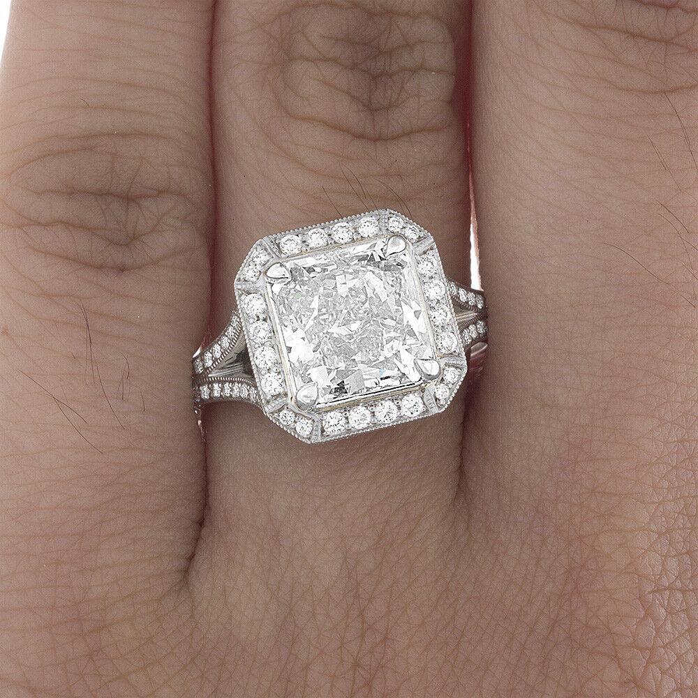 Platinum GIA Certified Diamond Engagement Halo Ring 5.65 carat Cushion Shape VS1