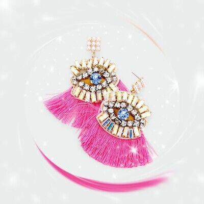 earrings Rhinestone Embellished Evil Eye Detail Tassel Earrings fuchsia color ()