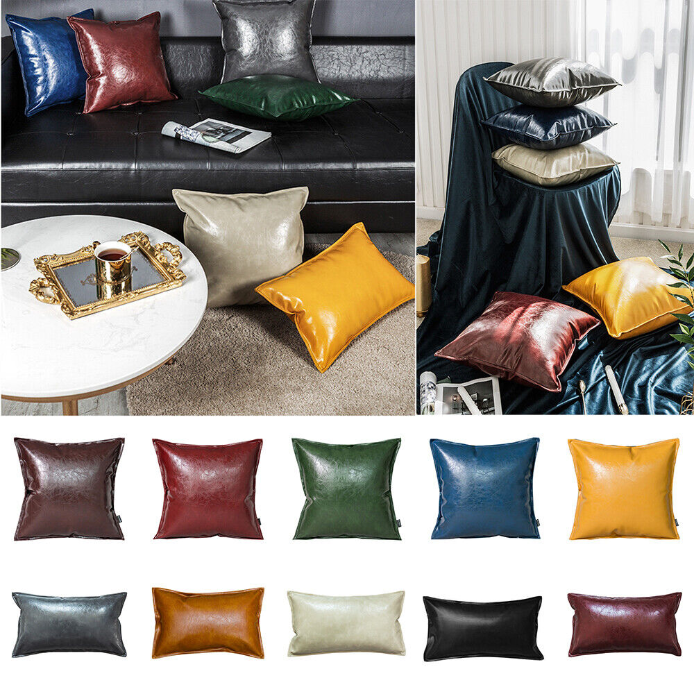 Faux Leather Throw Pillow Covers Square Luxury Cushion Case Sofa Home Decorative Ebay