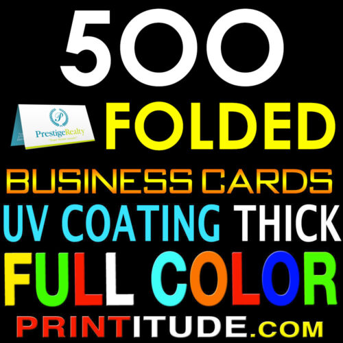 500 Full Color Half Folded Double Side Business Card 14pt Uv Coated Glossy