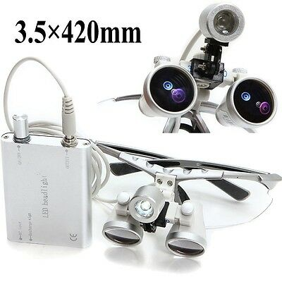 Usa Dental Surgical Medical Binocular Loupes 3.5x 420mm Led Head Light Lamp