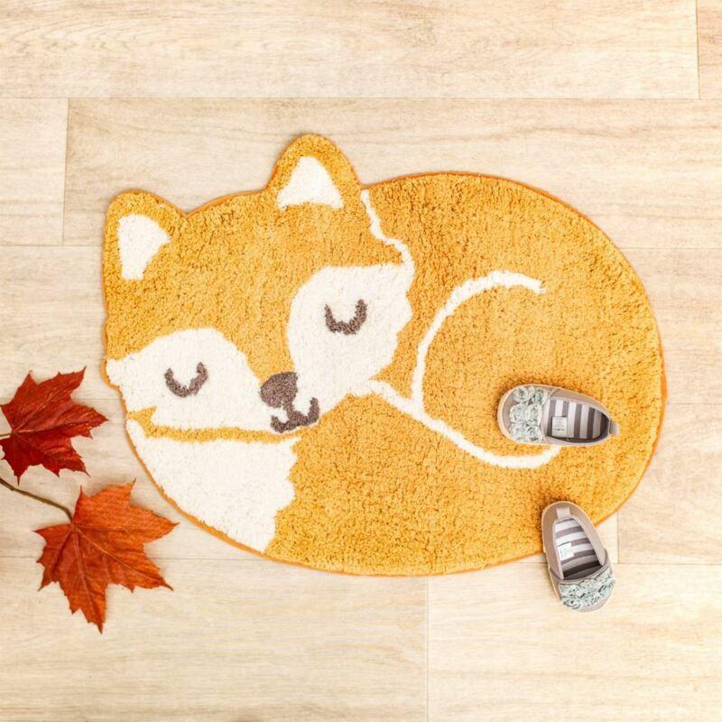 Woodland Fox Childrens Bedroom Rug   Nursery Playroom Animal Home Decoration