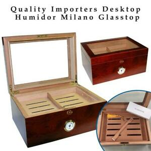NEW Quality Importers Desktop Humidor Milano Glasstop, Brown Condtion: New, Milano Glasstop