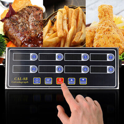 LCD 8 Channel Digital Timer Kitchen Burger Cooking Calculagraph Count-Down Tool