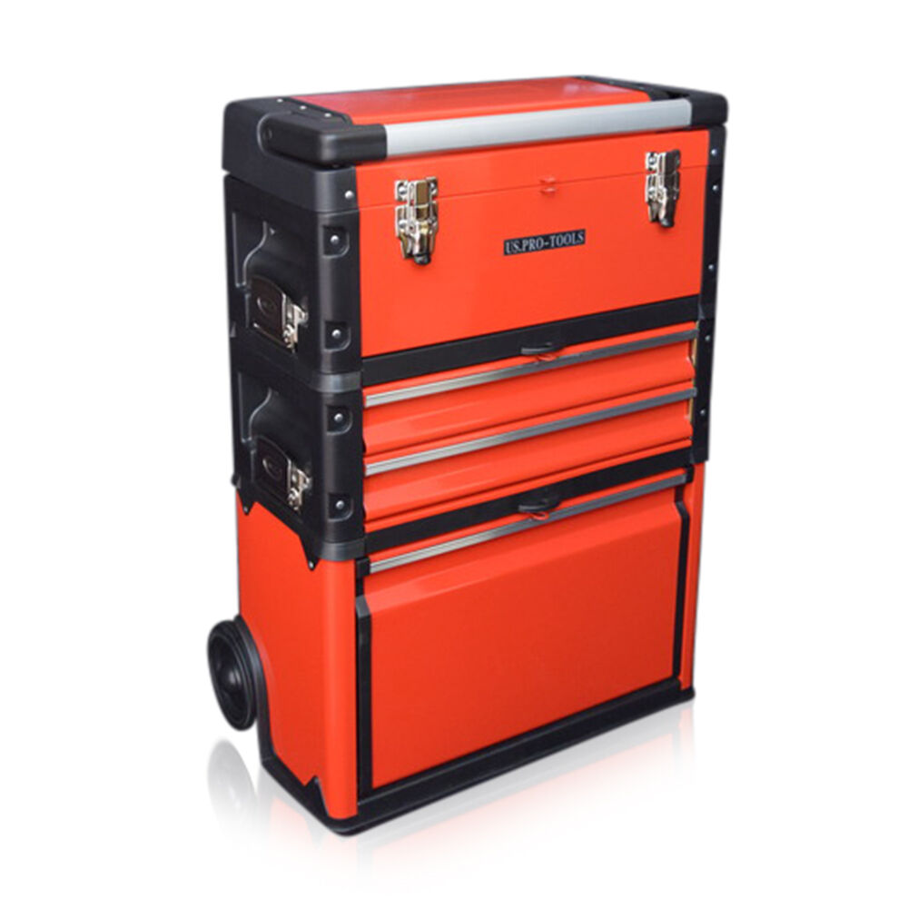 315 us pro tools red mobile rolling chest trolley cart cabinet wheels tool box ebay. Black Bedroom Furniture Sets. Home Design Ideas