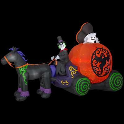12 ft Projection Kaleidoscope Ghost Coach Airblown Inflatable Halloween Carriage