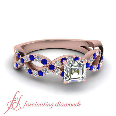 1.25 Ct Asscher Cut Rose Gold Diamond Rings With Round And Sapphire Accents GIA