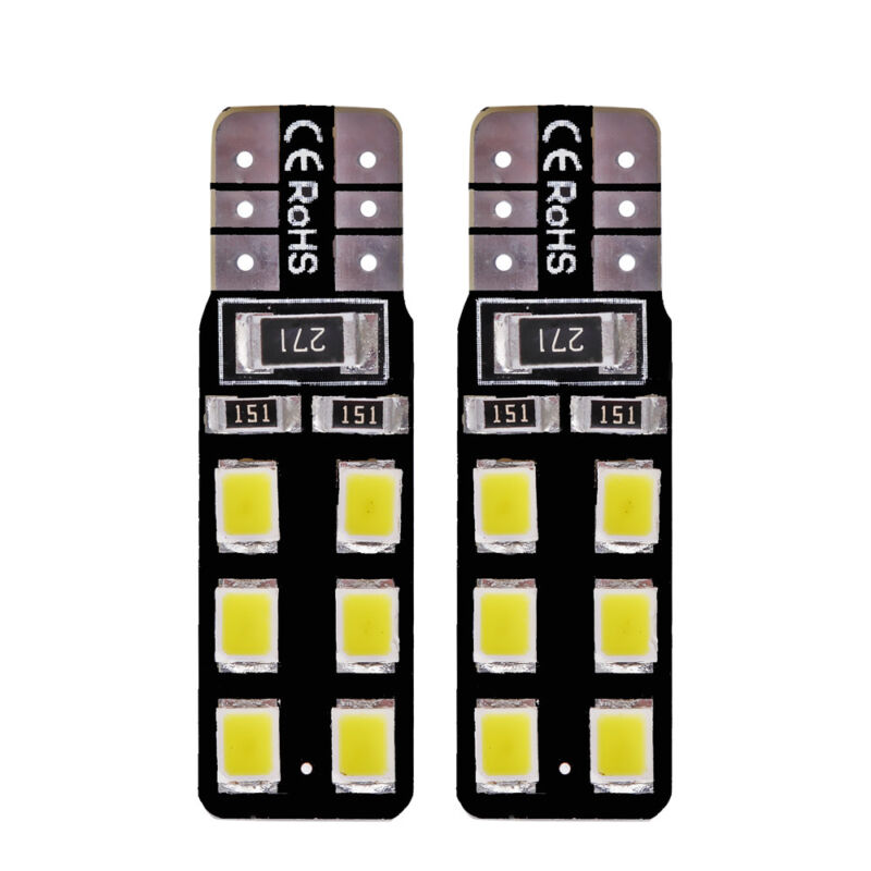 6x White Light T10 LED 2835-12 SMD CANBUS ERROR FREE W5W Door Map Bulb Bright
