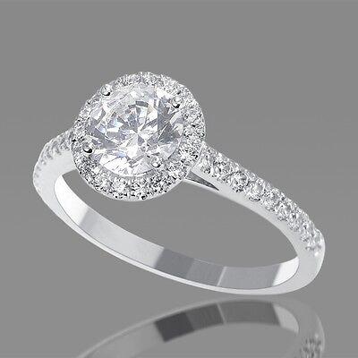 1 Carat Natural Round Halo Diamond Engagement Ring F/SI1 14K White Gold Enhanced