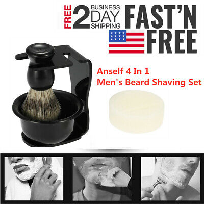 Anself 4 x Mens Shaving Gift Set Badger Hair Brush Shaving Stand Soap Bowl H8Y1 Badger Brush Stand