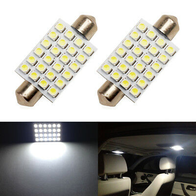 2 x White LED Interior Map Dome Trunk Light 42mm 578 211-2 212-2 Festoon Bulbs