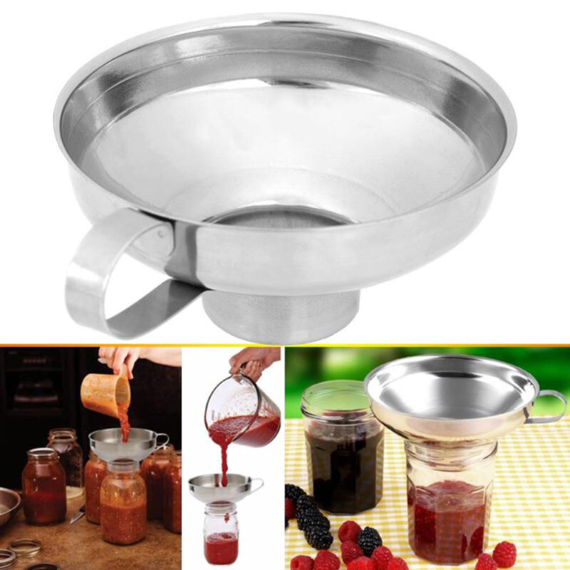 Stainless Steel Wide Mouth Canning Funnel Hopper Filter Kitchen wine Oil Tools