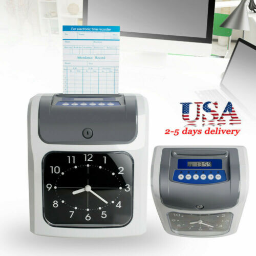 Employee Attendance Punch Time Clock Payroll Recorder LCD Dispiay Easy Use USA