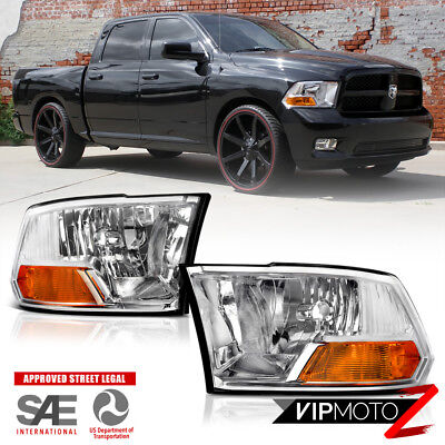 For 09-18 Dodge Ram 1500 2500 3500 Crystal Clear Chrome Replacement Headlight