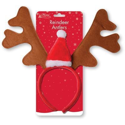 Rentier Geweih mit Weihnachts Mütze Stirnband Kostüm Weihnachten Party Unisex