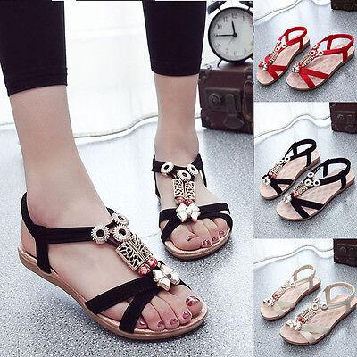 Fashion Women Sandals Beaded Ladies Flip Flops Bohemia Beach Summer Flat shoes