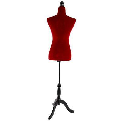 Red Female Mannequin Torso Dress Display Adjustable Tripod Stand Velour
