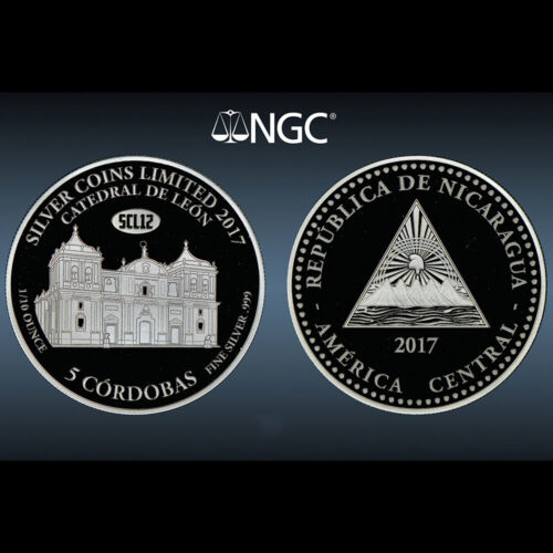 Nicaragua 5 Cordobas 2017 Silver Coin Catedral Leon NGC PF 69 UC First Releases