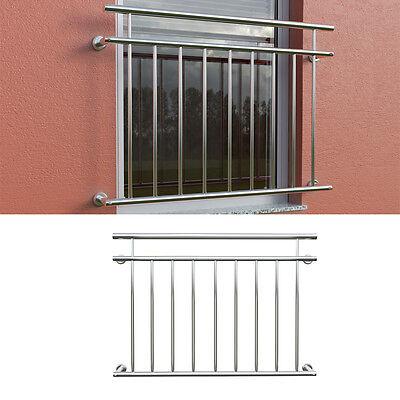 V2A Edelstahl Balkongeländer Fenstergitter Stabgeländer Balkon Geländer 128x90cm