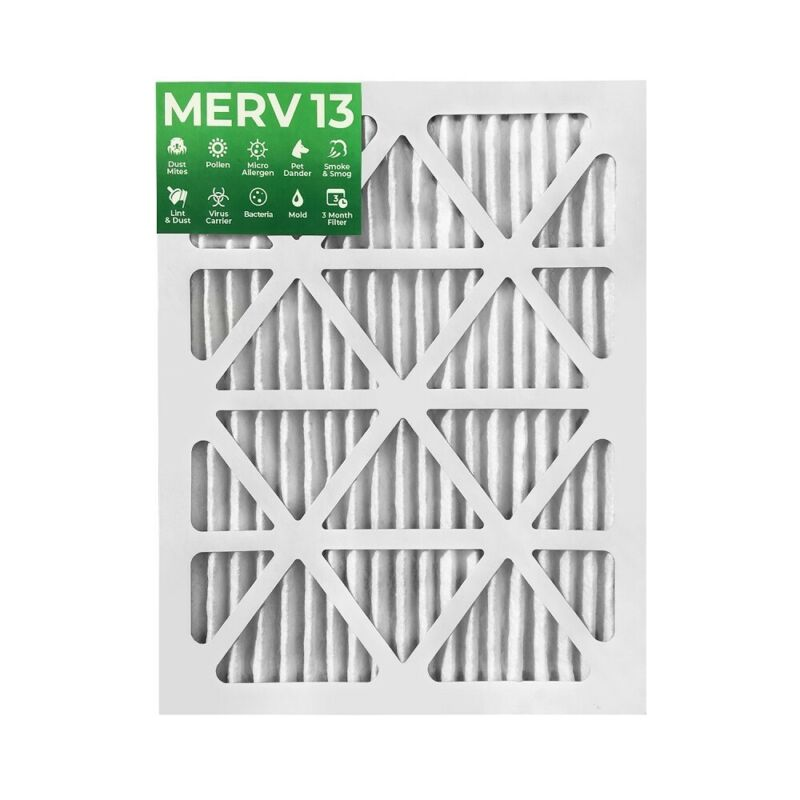 15x20x1 MERV 13 Pleated Air Filters. 12 PACK. Actual Size: 14-1/2 x 19-1/2 x 7/8