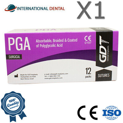 Gdt Braided Polyglycolic Acid Pga Surgical Sutures 75cm Absorbable 12pcsbox
