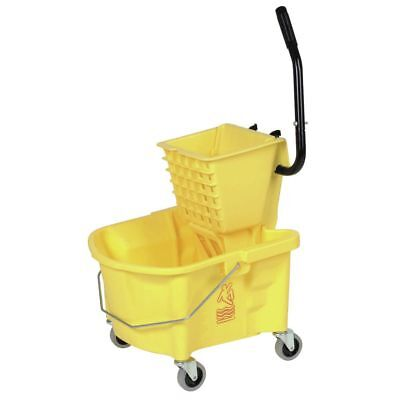 Continental 26 qt Yellow Plastic Mop Bucket With Side Press Wringer - 22