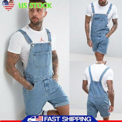 Men Cowboy Shorts Denim Jeans Jumpsuit Overalls Dungarees Trousers Holiday Pants ()