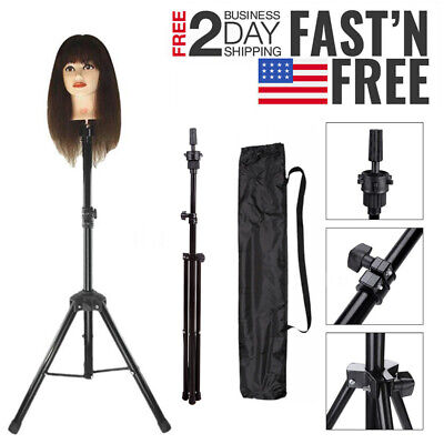 Hairdressing Training Head Holder Tripod Stand Salon Hair Wig Model Holder + Bag