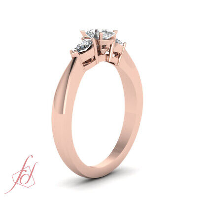 1 Carat Oval Shaped 3 Stone Diamond Engagement Ring 14K Rose Gold GIA Certified 2