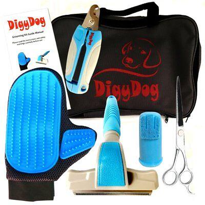 Pet Dog Grooming Kit Supplies - Professional Deshedding Brush, Massage kit