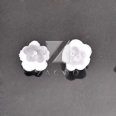 (500pcs Rubber Flower Shape Plastic Earring Backs Stoppers Ear Plug 5x5x3mm 25g)
