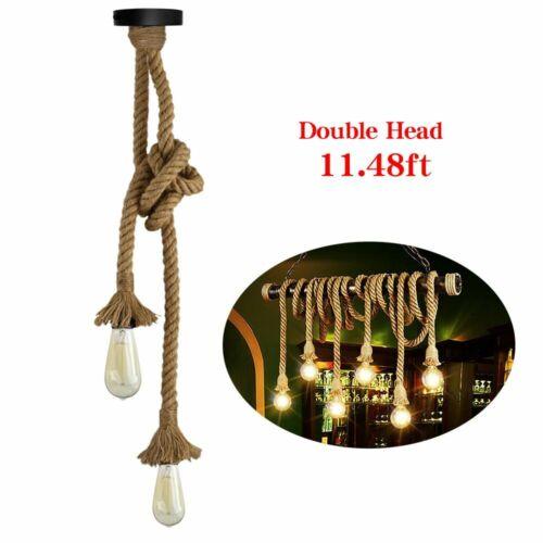 11.48FT Hanging Edison Hemp Rope Pendant Lamp Ceiling Chande