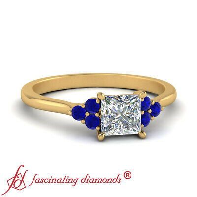 7 Stone Engagement Ring With 0.75 Ctw Princess Cut Diamond And Sapphire Gemstone