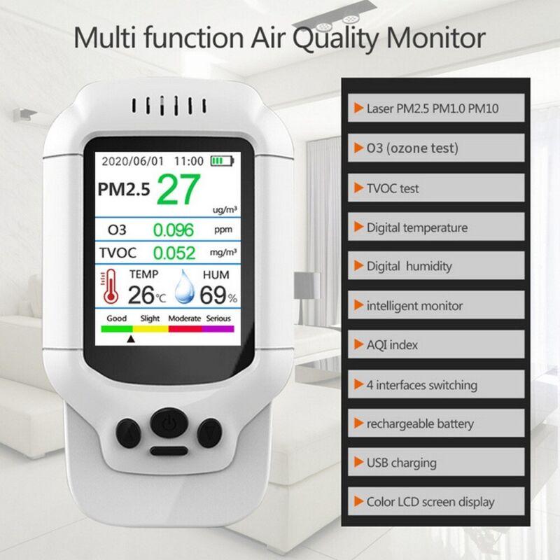 Air Quality Monitor PM2.5/1.0/10 HCHO O3 Ozone TVOC Humidity Detector Tester NEW