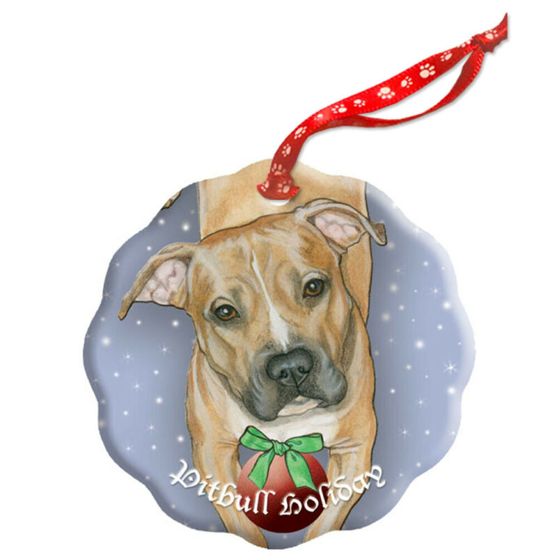 Pit Bull Holiday Porcelain Christmas Tree Ornament