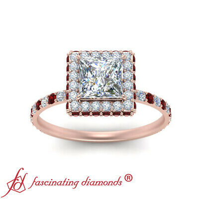1.50 Carat Princess Cut Diamond And Ruby Gemstone Hidden Halo Engagement Ring 2