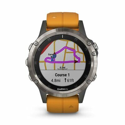Garmin fenix 5 Plus Sapphire Titanium with Solar Flare Orange Band 010-01988-04